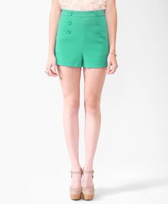 high wasted shorts + big buttons + awesome color. how can you not love these!