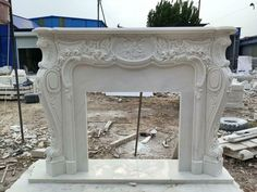 MASSIVE CARVED MARBLE EUROPEAN DESIGN FIREPLACE MANTEL - FPM684 #fromeuropetoyou