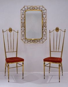 Chiavari brass chairs, a pair, ca, Italian in Vintage Dining Chairs from Roomscape Furniture, Vintage Dining Chairs, Brass, Settings, Chair, Home Decor, Pamono, Brass Chair, Vintage