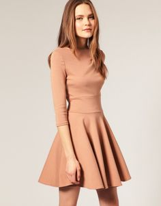 Long-sleeve fit and flare dress