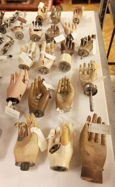 """Prosthetic hands on display at London's Science Museum in the multimedia show, """"Brought to Life: Exploring the History of Medicine"""