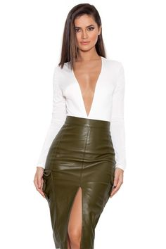 'Federica' house of cb OLIVE VEGAN LEATHER MILITARY PENCIL SKIRT