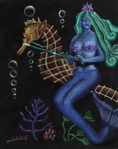 Mermaid & Seahorse, 11 in. x 14 in., acrylic & rhinestones #art #black #velvet