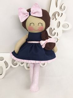 SALE Cloth baby doll Handmade Dolls Navy-Pink by SewManyPretties