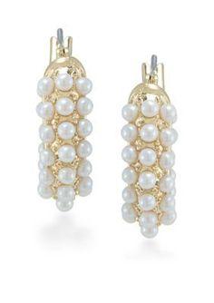 Carolee  Casablanca Cachet Pearl Hoop Pierced Earrings