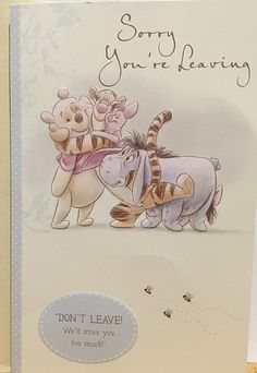 Disney Winnie The Pooh Sorry You're Leaving Greeting card