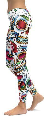 Colorful Dead - Sugar Skull Leggings - GearBunch Leggings / Yoga Pants