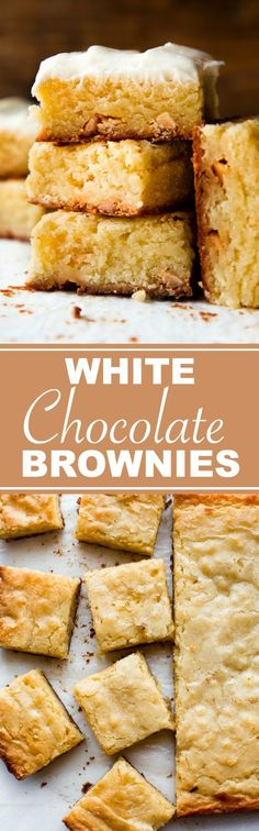 How to make dense and chewy white chocolate brownies in only 1 bowl and 7 easy ingredients! Brownie recipe on sallysbakingaddic. Chocolate Chip Recipes, Brownie Recipes, Cookie Recipes, Dessert Recipes, Bar Recipes, Easy Desserts, Delicious Desserts, White Chocolate Brownies, Chocolate Chocolate