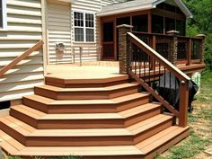 Deck Railing Design, Deck Railings, Deck Design, Stair Design, Home Design, Deck  Steps, Decking Ideas, Wooden Decks, Yard Ideas
