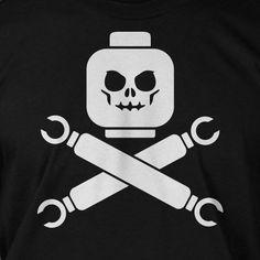 Funny Block Skull Screen Printed TShirt Tee Shirt by IceCreamTees