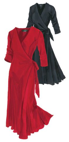 French Film Star Travel Dress (No. 2532). Low maintenance dress for high maintenance stars. Packs a high degree of glamour in the most flattering silhouette ever. Made from a silky jersey knit with a little spandex. Ties at waist. Lower calf length. V-shape crossover front neckline. Shaping princess lines. Three-quarter sleeves. Flowing full sweep.
