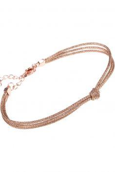 love knot dreireihiges armband rose vergoldet knoten