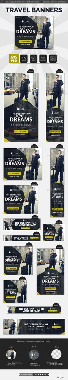 Travel Banner Template #design #ads #web Download: http://graphicriver.net/item/travel-banner/12473319?ref=ksioks