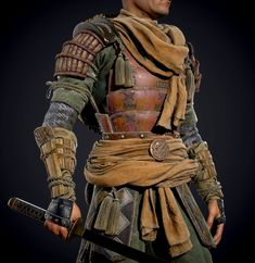 ArtStation - Sergei Kotenko's submission on Feudal Japan: The Shogunate - Game Character Art (real-time) Samurai Artwork, Ninja Art, Armor Clothing, Japanese Warrior, 3d Figures, Japan Outfit, Art Costume, Game Concept Art, Medieval Armor