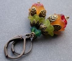 Flower Bud Earrings Colorful Lucite and Brass Lever by KarinAllie, $12.00