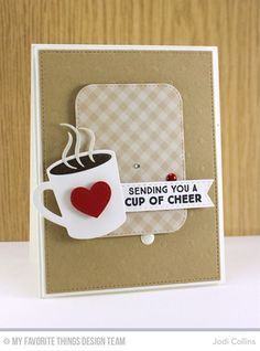 Handmade card from Jodi Collins featuring Laina Lamb Design Hot Cocoa Cups Die-namics