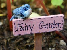Fairy Garden Sign Fairy Garden sign with Bird Miniature sign Miniature bird Fairy garden Bird with sign via Etsy