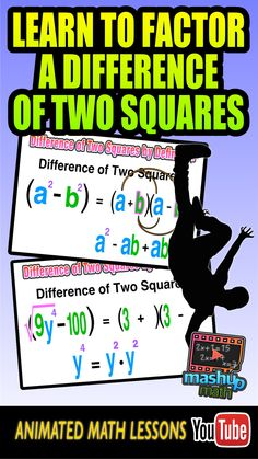 our animated algebra lesson on factoring a difference of two squares ...