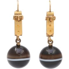 Pre-owned Whimsical and Wearable Victorian Banded Agate Earrings ($1,675) ❤ liked on Polyvore featuring jewelry, earrings, dangle earrings, agate earrings, bird bracelet, antique victorian locket and victorian locket