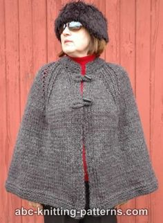 Free Cape Knitting Pattern    This traditionally-styled cape is warm and roomy, making it great for the colder months of the year. It's a great project for the beginning knitter, as it is quick and simple to knit.