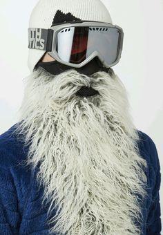 NEW STYLE Beardski EASY RIDER Long Bearded Neoprene Snowboarding GRAY Ski Mask #Beardski