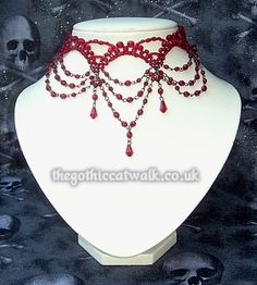 Red Beaded Victorian Gothic Choker Necklace #3