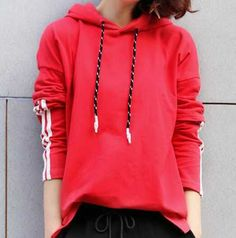 Fake two piece color block hoodie with side slits striped pattern for ladies