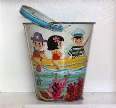 vintage pail idea.  underwater scene good for pail in office