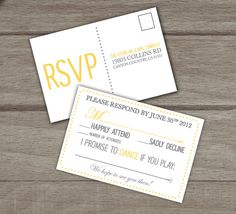 Post card for RSVP card