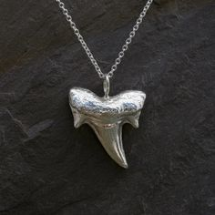 Shark Tooth Pendant, Sterling Silver Pendant Necklace, Maui Hawaiian Jewelry @ Etsy.