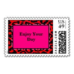 Hot Pink Zebra Cheetah Custom Color Postage Stamps