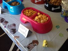 Animal shelter donation party. Cat party. Kitty treats. Goldfish. Cubed cheese. Dog theme birthday party for kids.