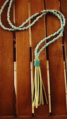 Turquoise Beaded Necklace with Green Suede Tassel plus one Red Bead! Happy Colorful Pretty Necklace. Bohemian Necklace. Free Shipping by Bohemicin on Etsy