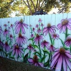 Colorful Painting Ideas for Fences Adding Bright Decorations to Yard Landscaping - Modern Design Garden Fence Paint, Garden Mural, Garden Wall Art, Fence Art, Simple Canvas Paintings, Colorful Paintings, Backyard Fences, Yard Landscaping, Painted Shed