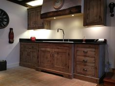 Driftwood Kitchen Display with Kohler sink and tap.