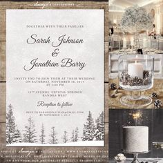 Elegant Winter Wedding Invitations, Winter Wonderland Wedding Theme
