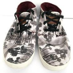 Mens Toms Black White Palm Tree Tennis Lace Up Ankle Boots Shoes 9M #Toms #Sneakers