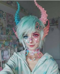 "Kawaii make-up Elfgutz inspiration pastel pink hair/ pastel blue hair"" blood skull hand Makeup Art, Eye Makeup, Hair Makeup, Makeup Ideas, Makeup Style, Demon Makeup, Makeup Drawing, Pastel Goth Fashion, Kawaii Fashion"
