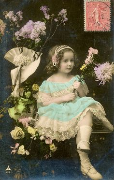 Beautiful postcard of a little girl