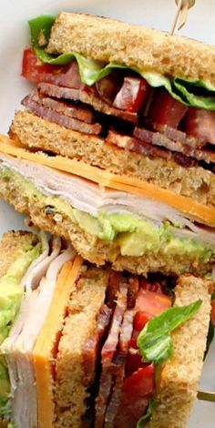 Turkey Club Sandwich -- Suddenly this looks absolute divine and I could devour it for breakfast tomorrow. Turkey Club Sandwich, Soup And Sandwich, Club Sandwich Recipes, Chicken Sandwich, Sandwich Bar, Sandwich Spread, Lunch Recipes, Cooking Recipes, Healthy Recipes