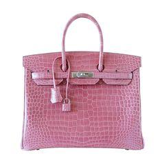 Hermes Birkin 35 bag ROSE INDIENNE Porosus Crocodile palladium VERY RARE