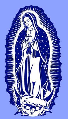 Imagen de la Virgen de Guadalupe, simplificada para cortar en vinilo o imprimir en serigrafía, disponible en mi web www.logo-arte.com
