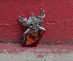 Pirate fused glass pendant by PiecesofhomeMosaics on Etsy, $22.00