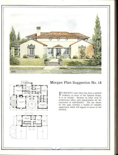 [CasaGiardino] ♛ Building with assurance Vintage House Plans, Country House Plans, Vintage Houses, Spanish Revival, Spanish Style, Spanish Colonial, Home Design Plans, Plan Design, Architecture Plan