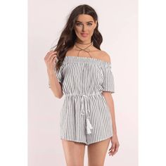 Tobi Weight Off Your Shoulders Romper (2,715 PHP) ❤ liked on Polyvore featuring jumpsuits, rompers, black, off shoulder romper, playsuit romper and off the shoulder romper