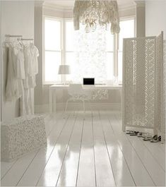 Would like gloss white wood floors in my beach house bathroom (of course I don't have my beach house yet!)