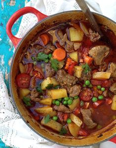 Rustic hearty homemade beef stew recipe, organic grass fed beef, potatoes, peas and carrots in its most rustic delicious form.