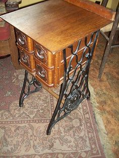 Very Interesting Table Made From Antique Sewing Machine - Great End Table | eBay