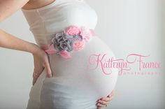 The Anna sash featured in silver and pink...maternity sash...bridal sash...newborn sash...flowergirl sash