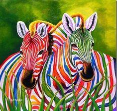 Zebras with rainbow stripes. Zebra Kunst, Zebra Art, Zebra Painting, Painting Art, Rainbow Colors, Vibrant Colors, Colours, Rainbow Zebra, World Of Color